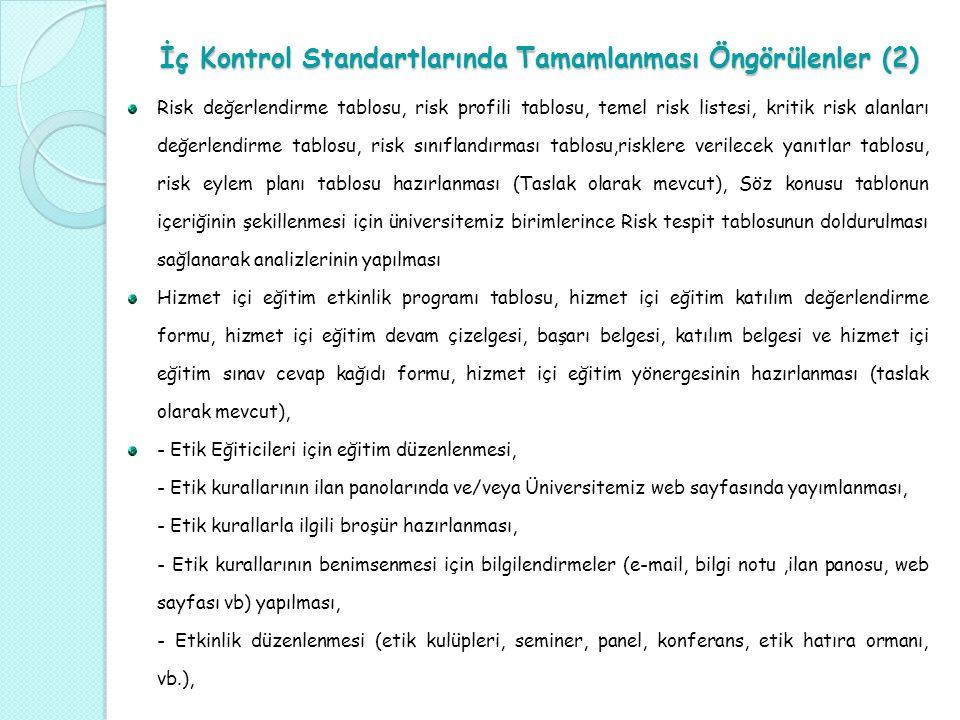 İç Kontrol Standartlarında Tamamlanması Öngörülenler (2)
