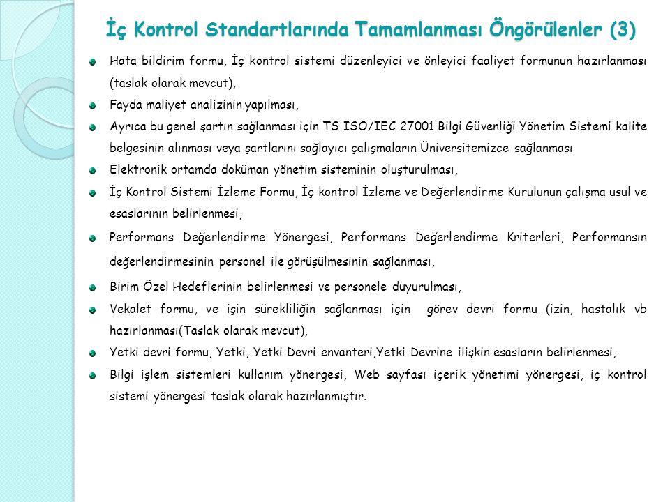 İç Kontrol Standartlarında Tamamlanması Öngörülenler (3)