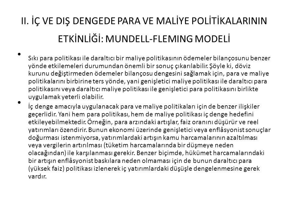 II. İÇ VE DIŞ DENGEDE PARA VE MALİYE POLİTİKALARININ ETKİNLİĞİ: MUNDELL-FLEMING MODELİ