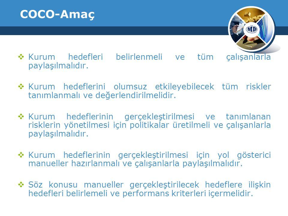 COCO-Amaç Kurum hedefleri belirlenmeli ve tüm çalışanlarla paylaşılmalıdır.