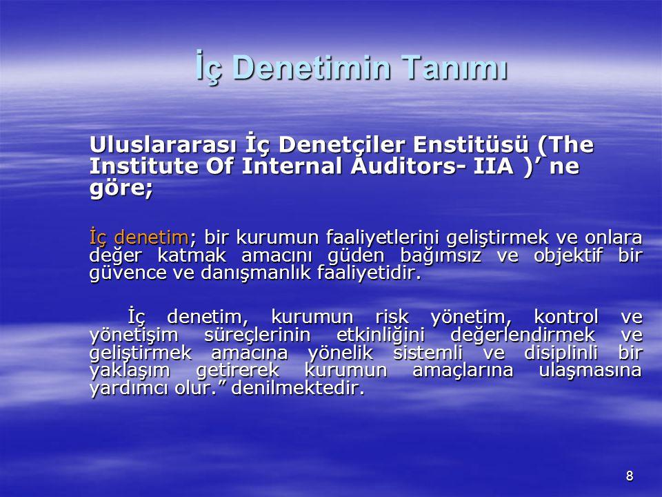 İç Denetimin Tanımı Uluslararası İç Denetçiler Enstitüsü (The Institute Of Internal Auditors- IIA )' ne göre;