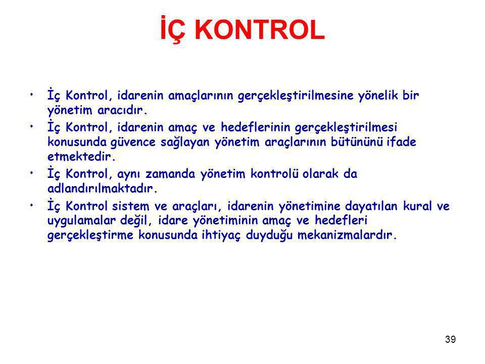 İÇ KONTROL İç Kontrol, idarenin amaçlarının gerçekleştirilmesine yönelik bir yönetim aracıdır.
