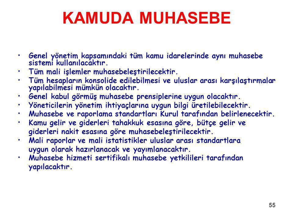 KAMUDA MUHASEBE Genel yönetim kapsamındaki tüm kamu idarelerinde aynı muhasebe sistemi kullanılacaktır.