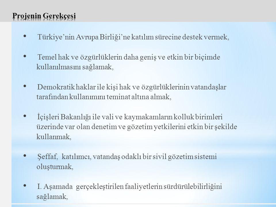 Projenin Gerekçesi Türkiye'nin Avrupa Birliği'ne katılım sürecine destek vermek, Temel hak ve özgürlüklerin daha geniş ve etkin bir biçimde.