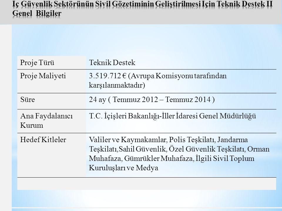 İç Güvenlik Sektörünün Sivil Gözetiminin Geliştirilmesi İçin Teknik Destek II Genel Bilgiler