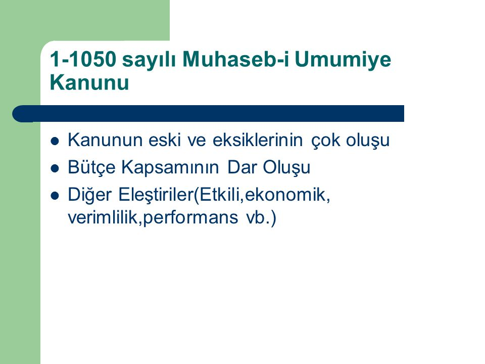 1-1050 sayılı Muhaseb-i Umumiye Kanunu