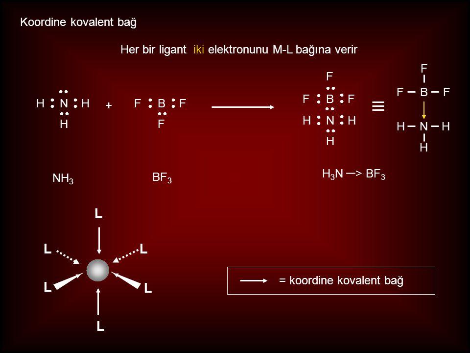 Her bir ligant iki elektronunu M-L bağına verir