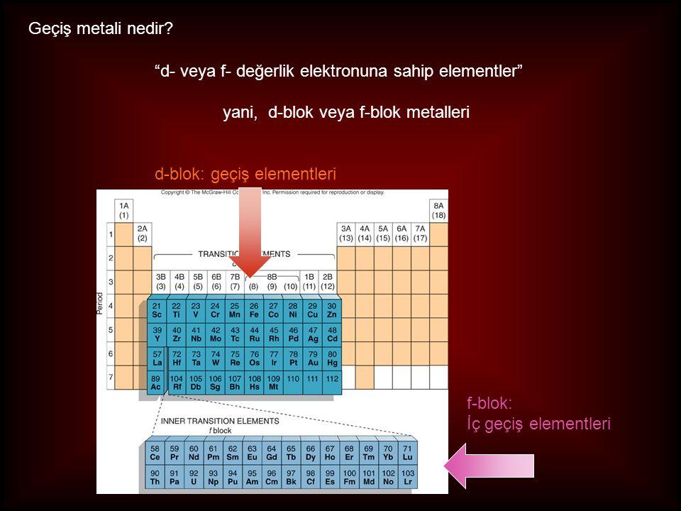 Geçiş metali nedir d- veya f- değerlik elektronuna sahip elementler yani, d-blok veya f-blok metalleri.