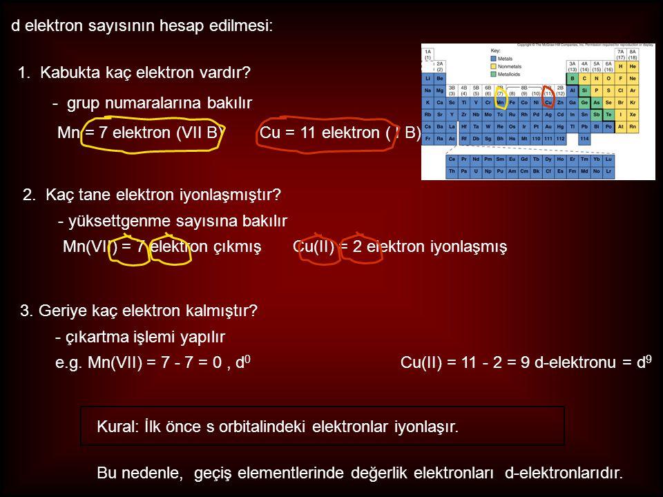 d elektron sayısının hesap edilmesi: