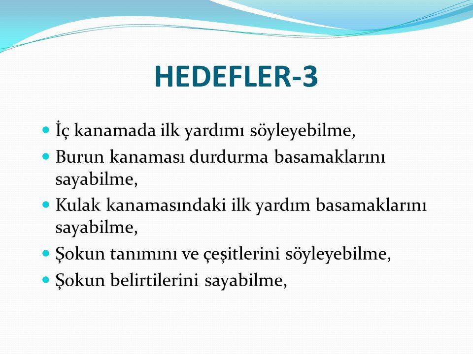 HEDEFLER-3 İç kanamada ilk yardımı söyleyebilme,