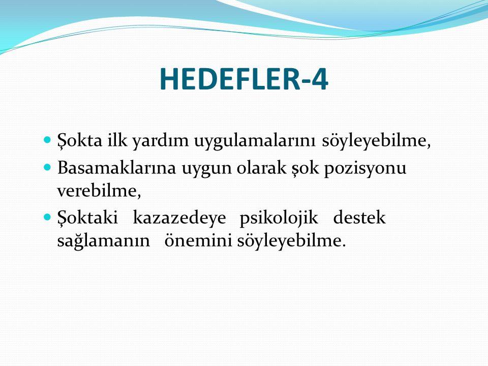 HEDEFLER-4 Şokta ilk yardım uygulamalarını söyleyebilme,