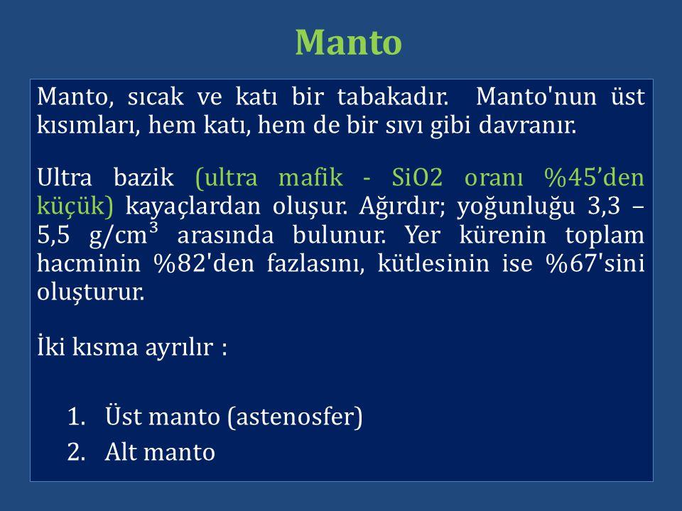 Manto Manto, sıcak ve katı bir tabakadır. Manto nun üst kısımları, hem katı, hem de bir sıvı gibi davranır.