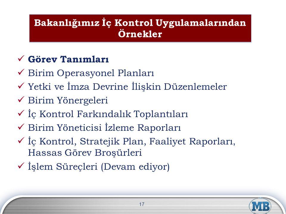 Bakanlığımız İç Kontrol Uygulamalarından Örnekler