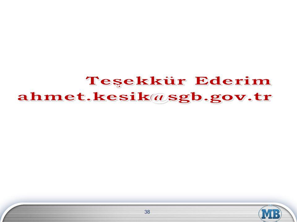 Teşekkür Ederim ahmet.kesik@sgb.gov.tr 38