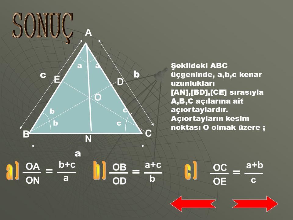 SONUÇ a ) b ) c ) A E D O B C N OA OB OC b+c a+c a+b ON OD OE a b c b
