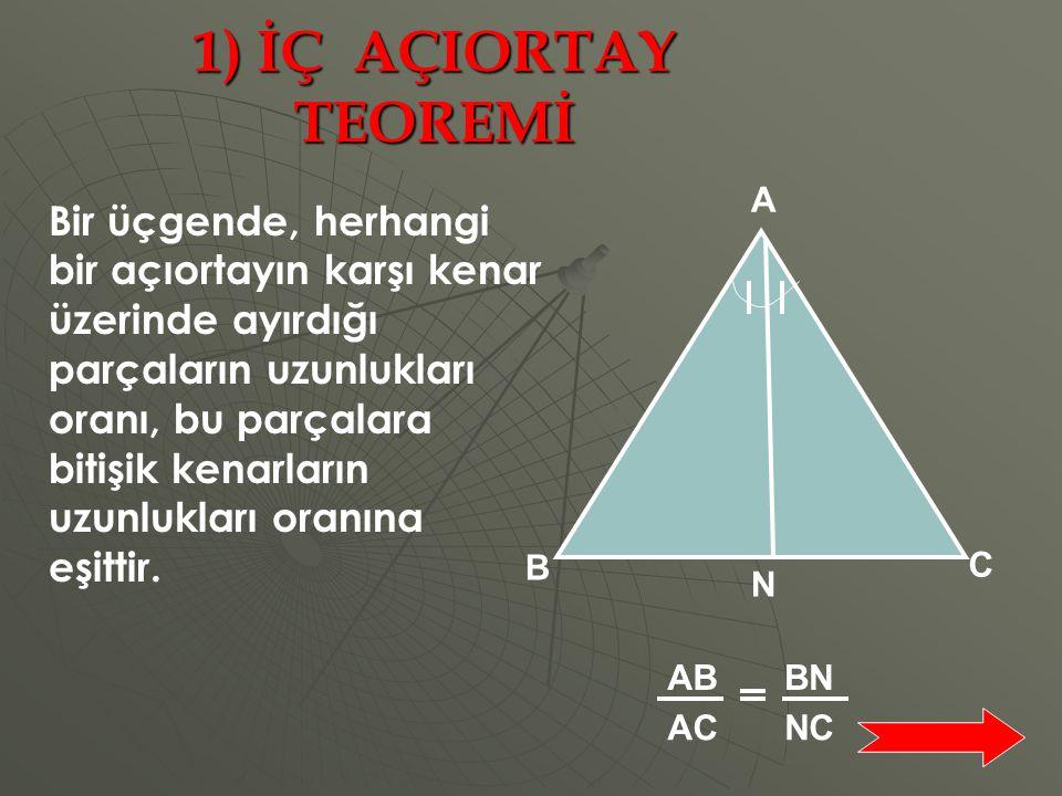 1) İÇ AÇIORTAY TEOREMİ A. N. C. B.