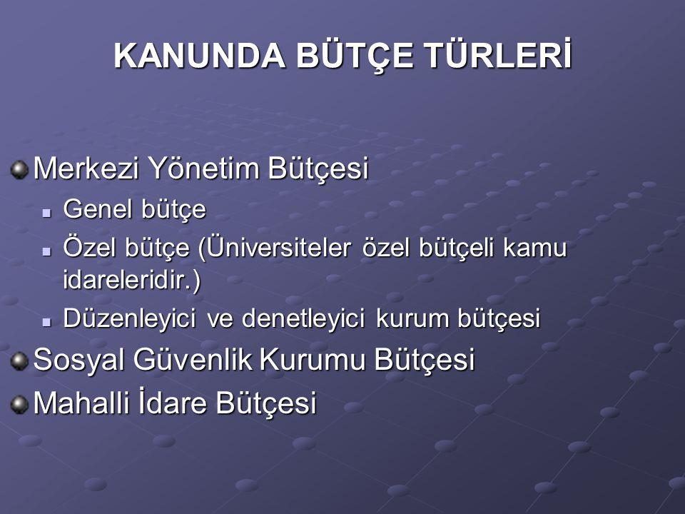 KANUNDA BÜTÇE TÜRLERİ Merkezi Yönetim Bütçesi