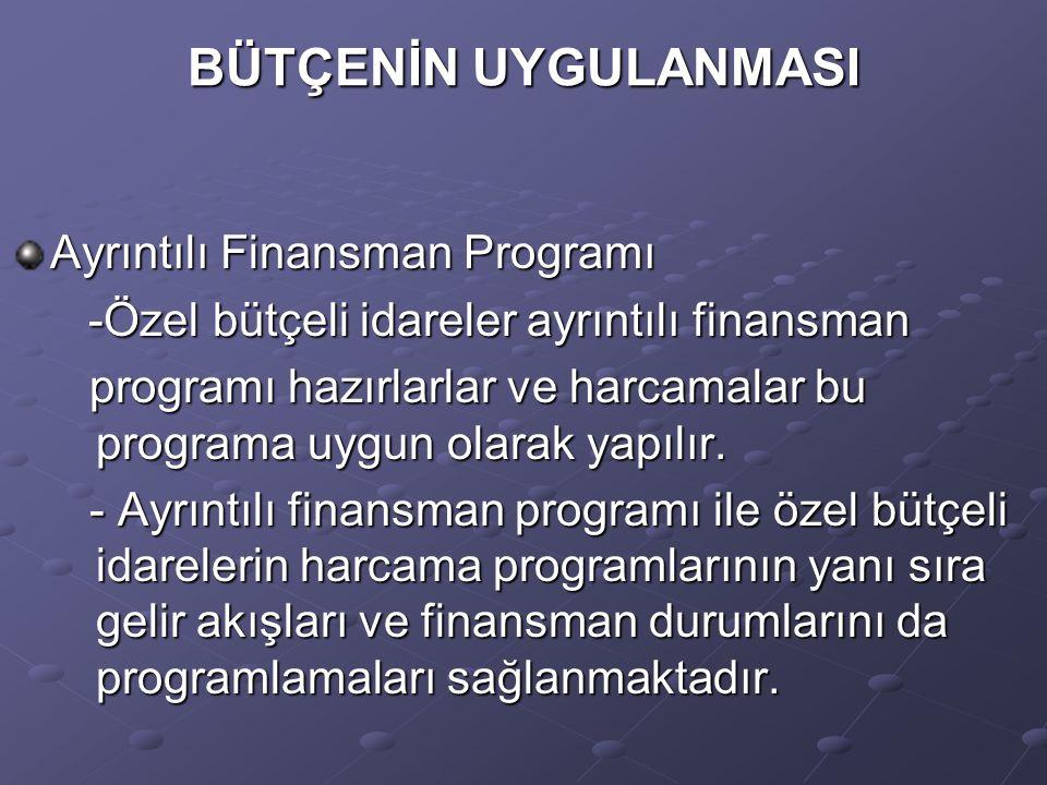 BÜTÇENİN UYGULANMASI Ayrıntılı Finansman Programı