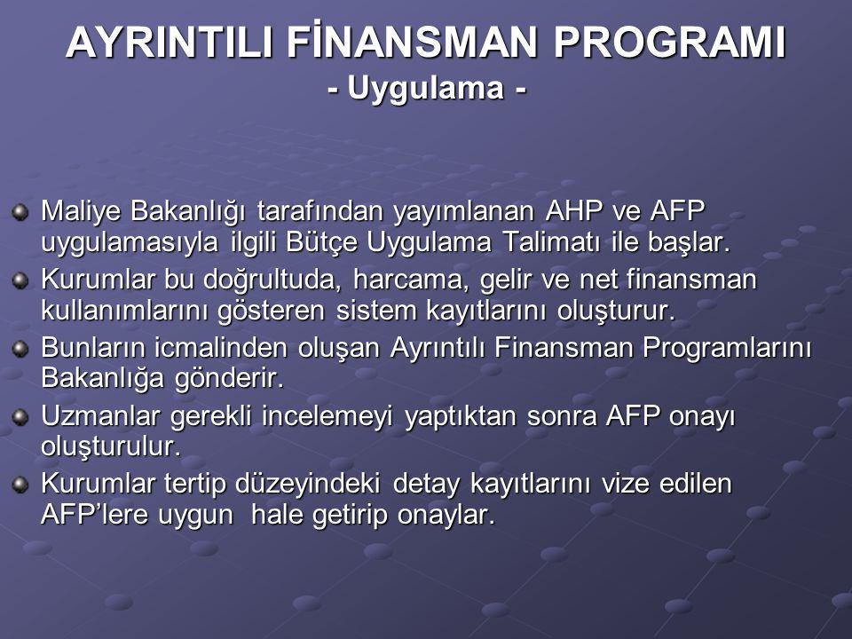 AYRINTILI FİNANSMAN PROGRAMI - Uygulama -