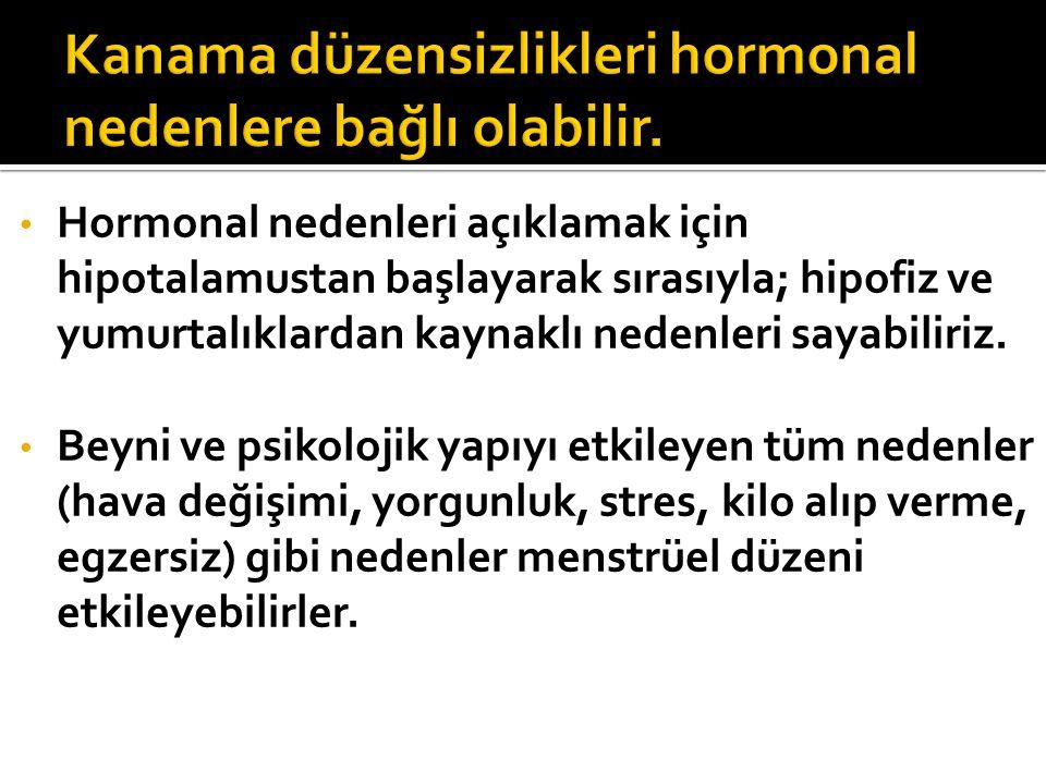 Kanama düzensizlikleri hormonal nedenlere bağlı olabilir.