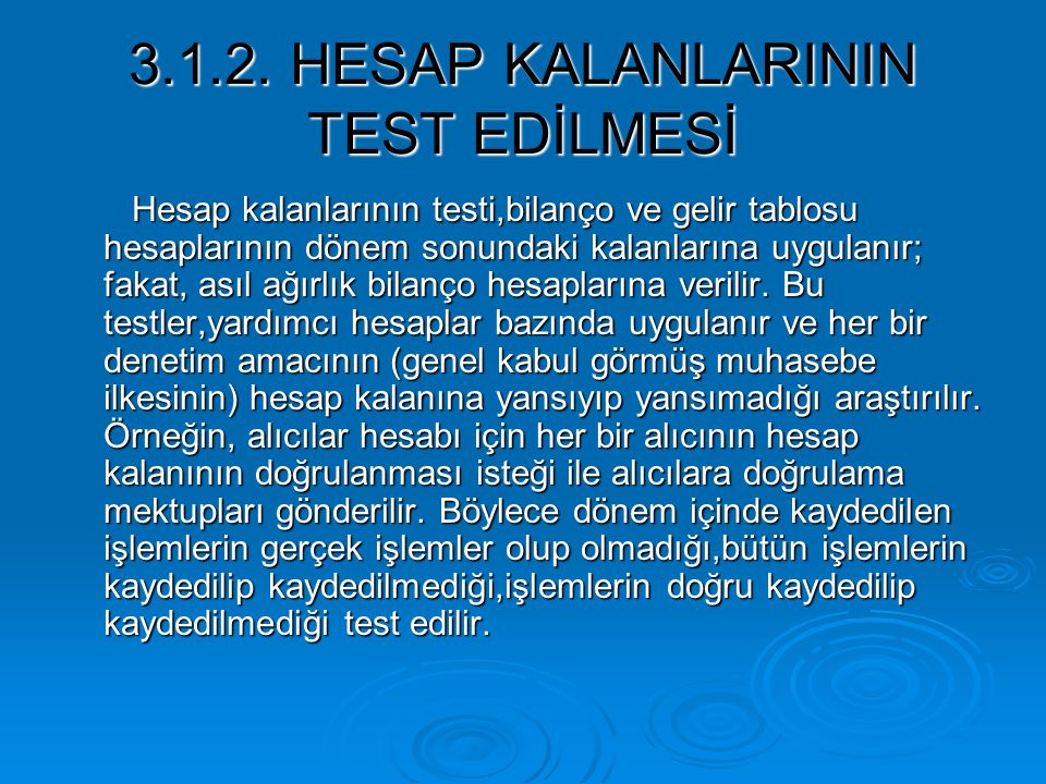 3.1.2. HESAP KALANLARININ TEST EDİLMESİ
