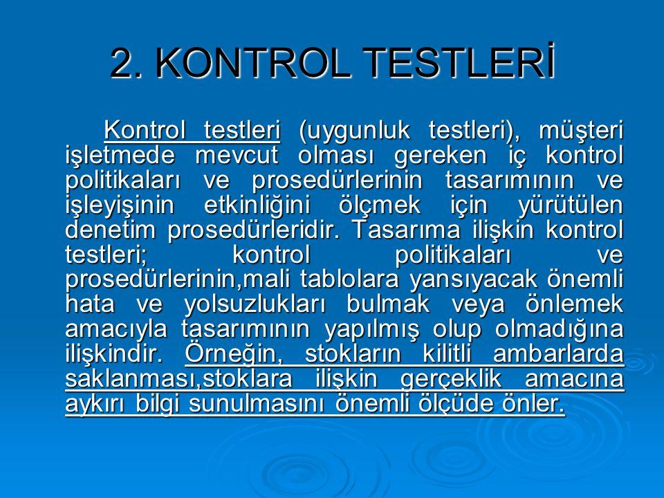 2. KONTROL TESTLERİ