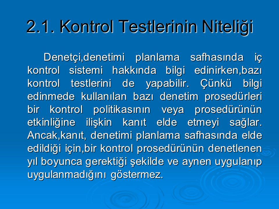 2.1. Kontrol Testlerinin Niteliği