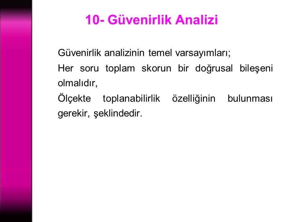10- Güvenirlik Analizi Güvenirlik analizinin temel varsayımları;