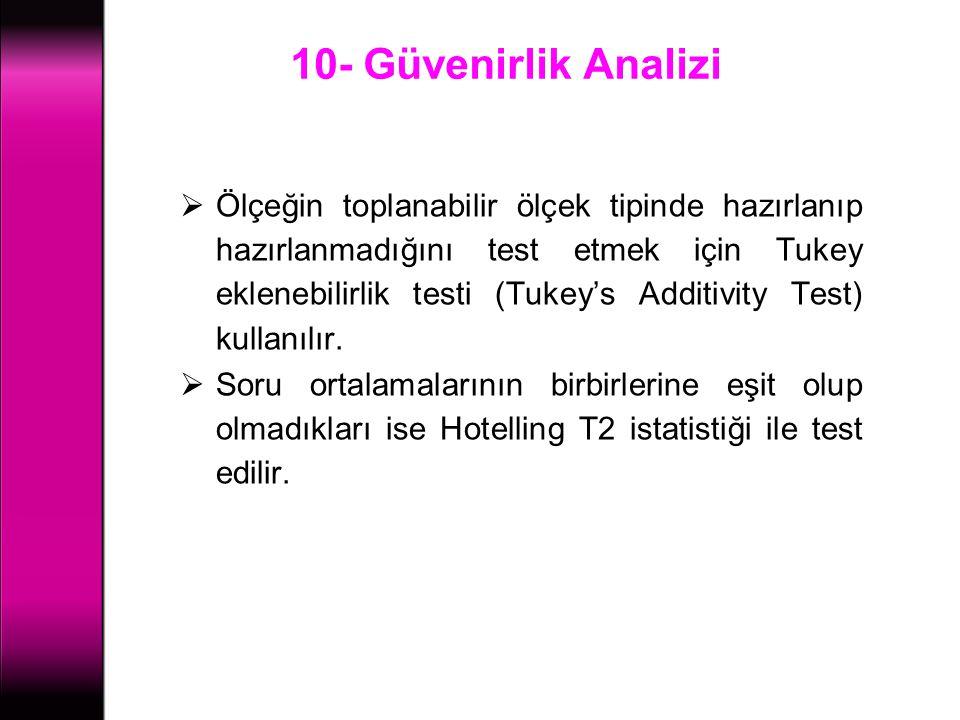 10- Güvenirlik Analizi