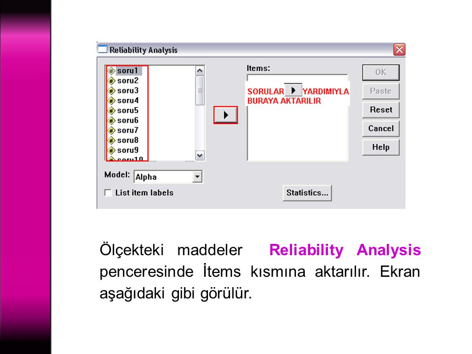 Ölçekteki maddeler Reliability Analysis penceresinde İtems kısmına aktarılır.