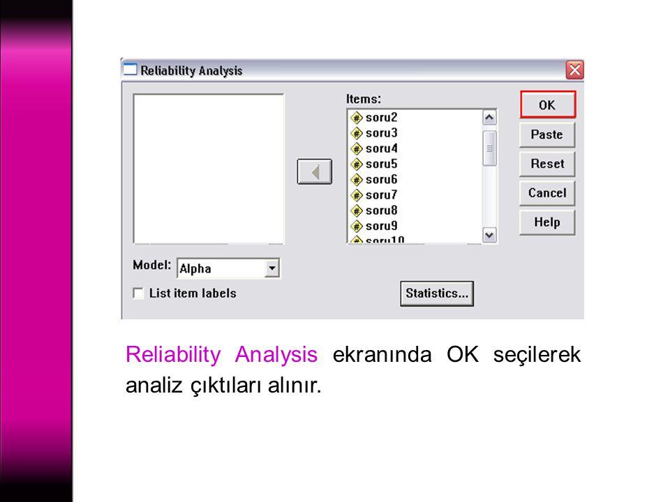 Reliability Analysis ekranında OK seçilerek analiz çıktıları alınır.