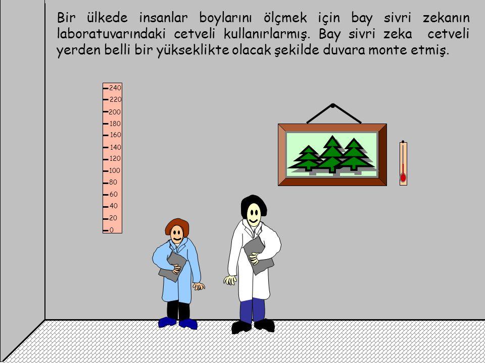 Bir ülkede insanlar boylarını ölçmek için bay sivri zekanın laboratuvarındaki cetveli kullanırlarmış. Bay sivri zeka cetveli yerden belli bir yükseklikte olacak şekilde duvara monte etmiş.