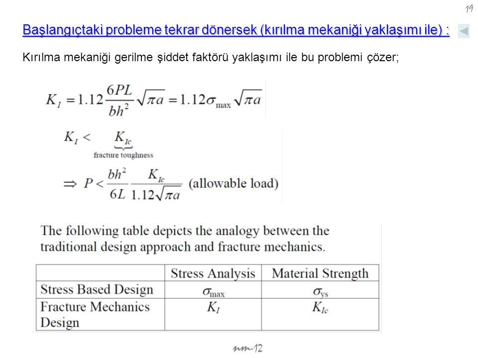 Başlangıçtaki probleme tekrar dönersek (kırılma mekaniği yaklaşımı ile) :
