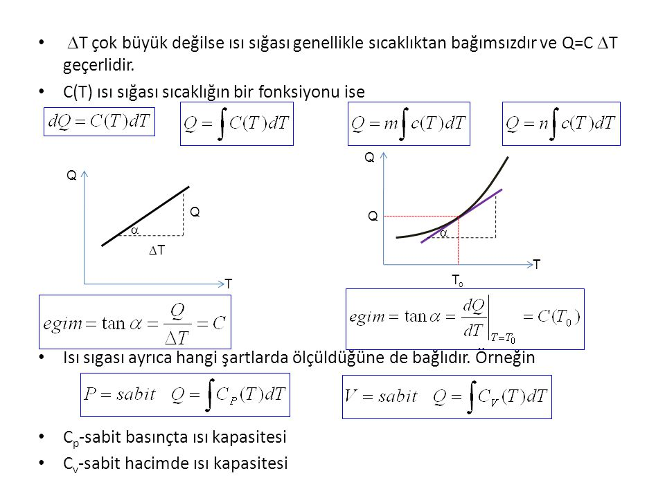 C(T) ısı sığası sıcaklığın bir fonksiyonu ise