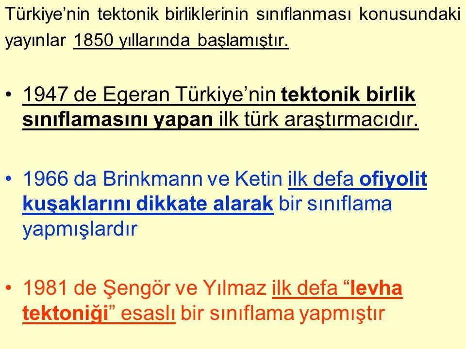 Türkiye'nin tektonik birliklerinin sınıflanması konusundaki