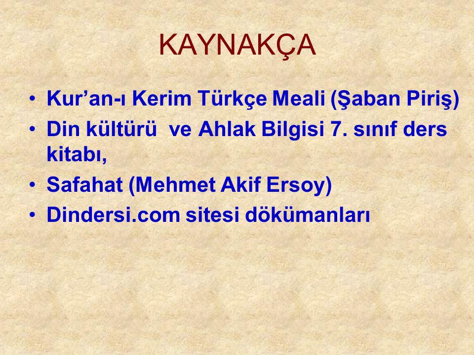 KAYNAKÇA Kur'an-ı Kerim Türkçe Meali (Şaban Piriş)