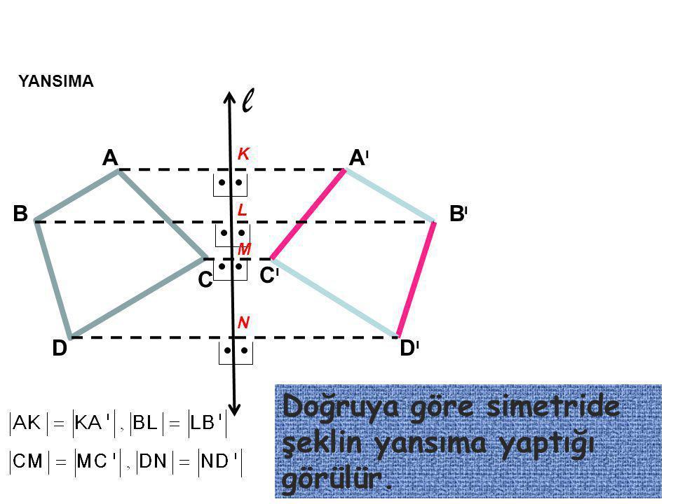 l Doğruya göre simetride şeklin yansıma yaptığı görülür. A Aı B Bı C