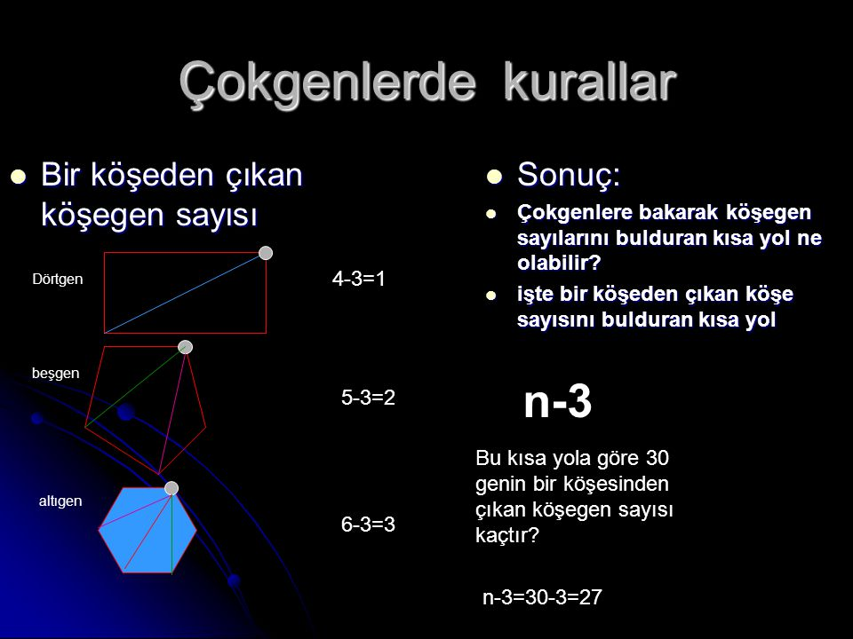 Çokgenlerde kurallar n-3 Bir köşeden çıkan köşegen sayısı Sonuç: