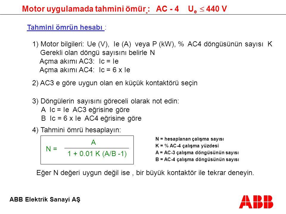 Motor uygulamada tahmini ömür : AC - 4 Ue  440 V