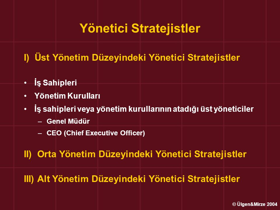 Yönetici Stratejistler