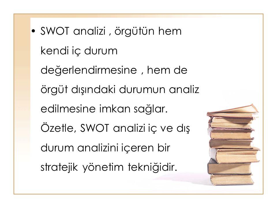 SWOT analizi , örgütün hem kendi iç durum değerlendirmesine , hem de örgüt dışındaki durumun analiz edilmesine imkan sağlar.