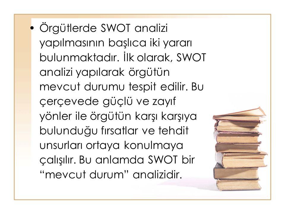 Örgütlerde SWOT analizi yapılmasının başlıca iki yararı bulunmaktadır