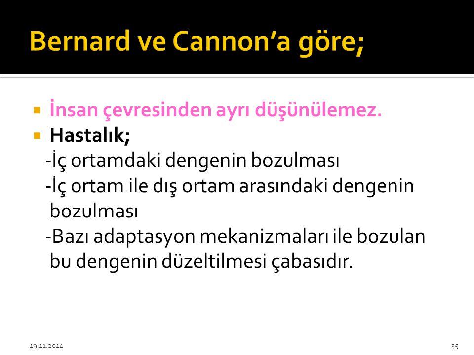 Bernard ve Cannon'a göre;
