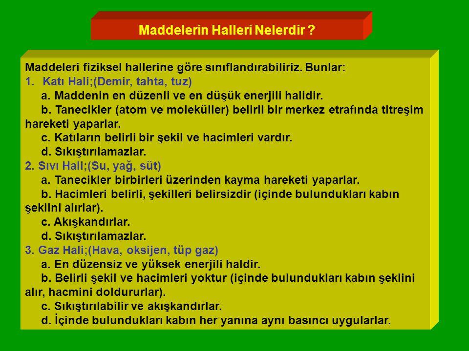 Maddelerin Halleri Nelerdir