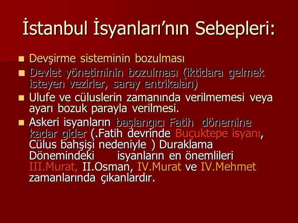 İstanbul İsyanları'nın Sebepleri: