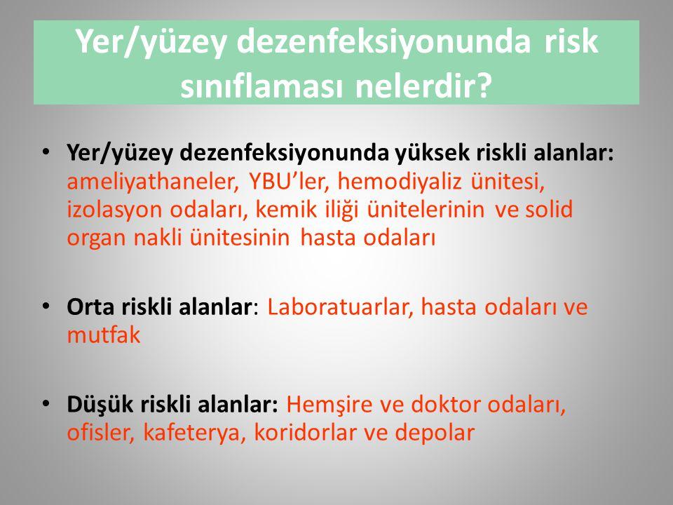 Yer/yüzey dezenfeksiyonunda risk sınıflaması nelerdir