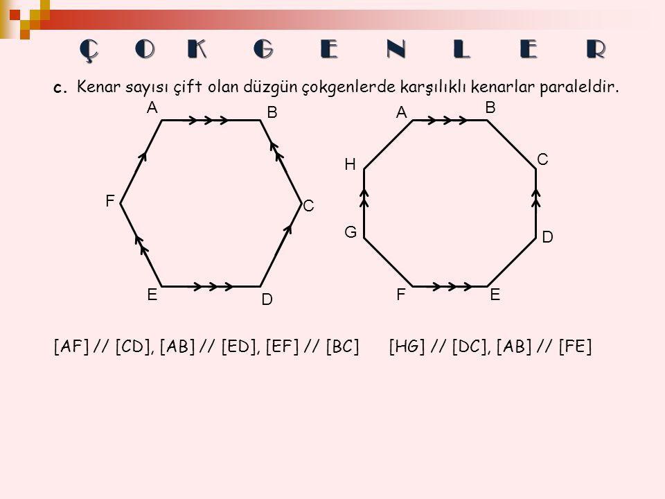 Ç O K G E N L E R c. Kenar sayısı çift olan düzgün çokgenlerde karşılıklı kenarlar paraleldir.