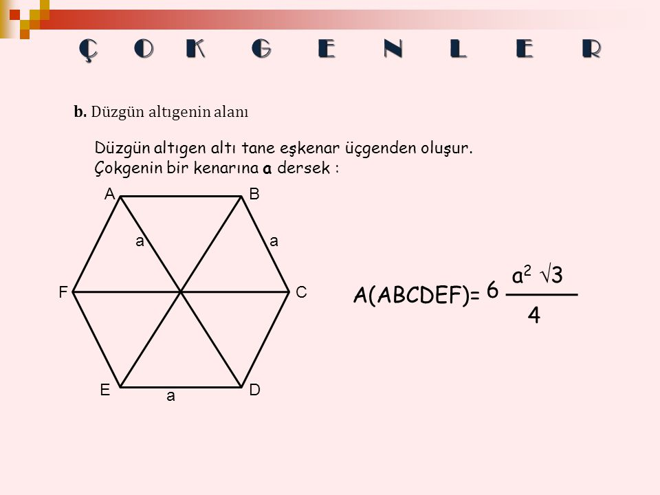 Ç O K G E N L E R a2 3 6 A(ABCDEF)= 4 b. Düzgün altıgenin alanı