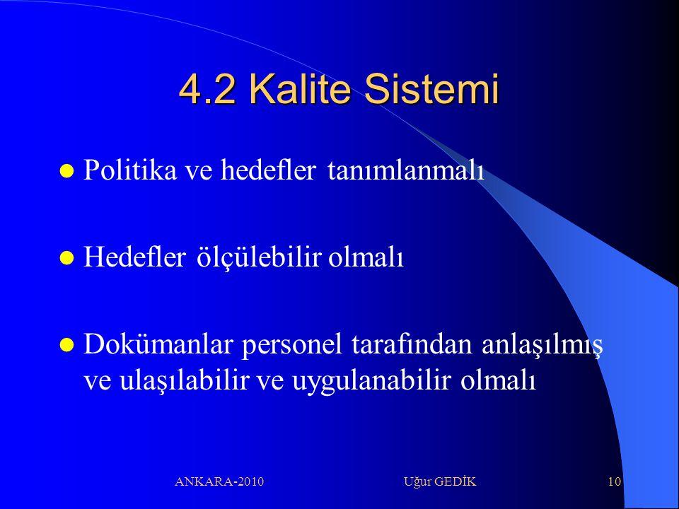 4.2 Kalite Sistemi Politika ve hedefler tanımlanmalı