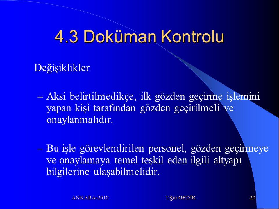 4.3 Doküman Kontrolu Değişiklikler